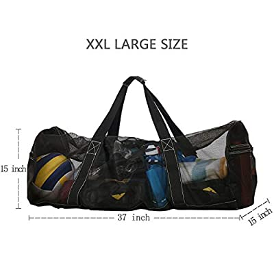 XL Mesh Dive Bag with Zipper, Extra Large Mesh Travel Duffle for Scuba Diving and Snorkeling Gear & Equipment - Dry Bag Hold Mask, Fins, Snorkel [ Extra Zipper Pockets, Lightweight & Foldable ]