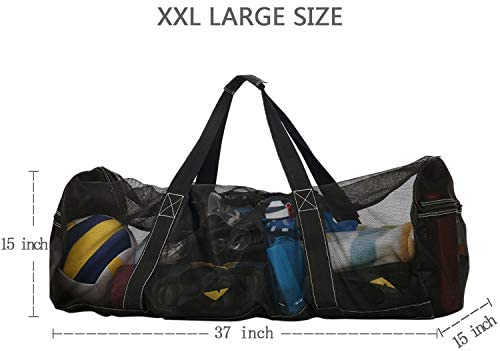 XXL ビーチバッグとトートバッグ エクストララージ メッシュトートバッグ 家族の休暇用 [トップジッパー、エクストラポケット、軽量&折りたたみデザイン] 特大メッシュダイビングダッフルバッグ スキューバやシュノーケリング用