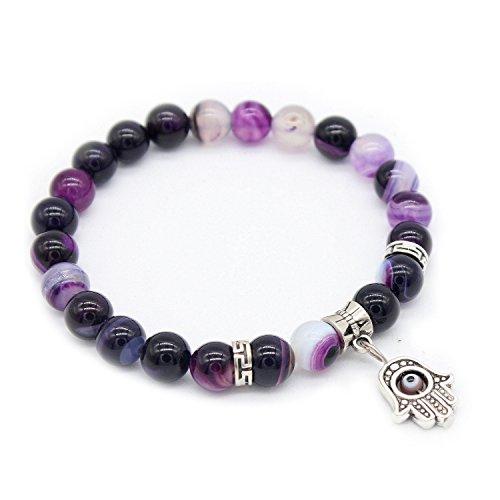 - Gemfeel 8mm Purple Striped Agate Stone Beads Fatima Hand Charm Bracelets for Women, 7.5