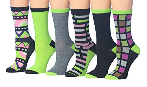 Tipi Toe Women's 6-Pairs Colorful Funky Patterned Crew Dress Socks (CR103-6Pk)