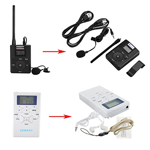 EXMAX 60-108MHz Portable DSP Stereo Wireless Headsets FM Radio Broadcast System for Tour Guide Teaching Meeting Training Travel Field Interpretation - 1 Transmitter and 30 Receivers White by EXMAX (Image #9)