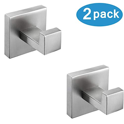 Nolimas Bathroom Towel Hook SUS304 Stainless Steel Square Clothes Coat Robe Hooks Cabinet Closet Door Sponges Hanger for Bath Kitchen Garage,Heavy Duty Wall Mounted,Brushed Nickel Finish,2pack ()