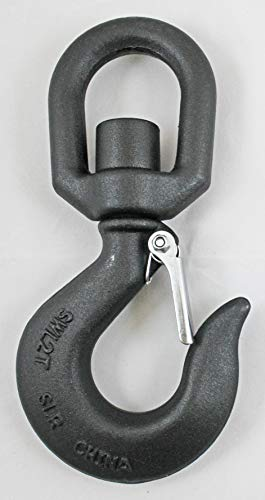 Indusco 47400981 Drop Forged Carbon Steel Swivel Eye Hook with Latch, 3 Ton Working Load Limit