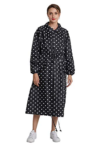 (Women's Stylish Long Rain Poncho Rain Coat with Hood and Multi Color Pattern (Black dots, XXL))