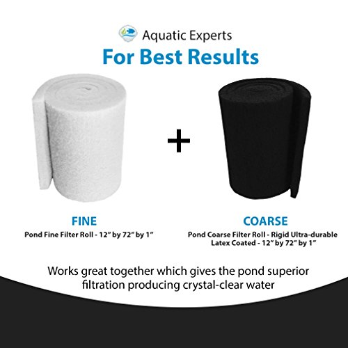 """Aquatic Experts Classic Koi Pond Filter Pad FINE - 12 Inches by 72 Inches by 3/4"""" to 1 Inch - WHITE Bulk Roll Pond Filter Media, Ultra-Durable Fish Pond Filter Material by USA"""