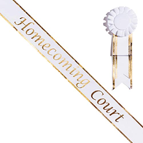 White and Gold Homecoming Court Sash with Matching Rosette -