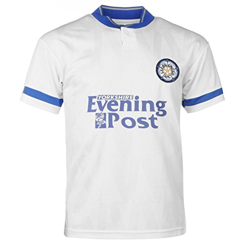 Score Draw Mens Leeds United 1992 Home Jersey Retro Shirt Short Sleeve Football White Large