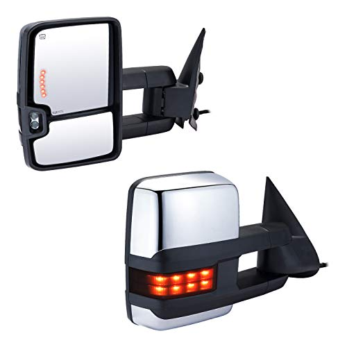 (Chevy Tow Mirror Pickup Towing Mirrors Power Heated Telescoping LED Arrow Turn Signal Lights Reversing Light Clearance Lamp for Chevy Silverado Suburban 1500 2500 3500 GMC Sierra Yukon)