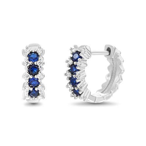 Cubic Zirconia Jewelry Sapphire (MIA SARINE Simulated Blue Sapphire and Cubic Zirconia Bridal Gift Huggie Hoop Earrings for Women in 925 Sterling Silver)