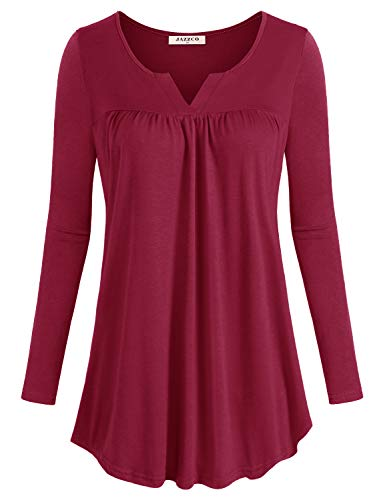 Jazzco V Neck Blouse Tops for Women,Ladies Petite Flowy Long Shirt Textured Flattering Solid Long Sleeve Tunic Flyaway Trapeze Easy Fit Winter Draped Pleat Blouse for Work(Red,Large)