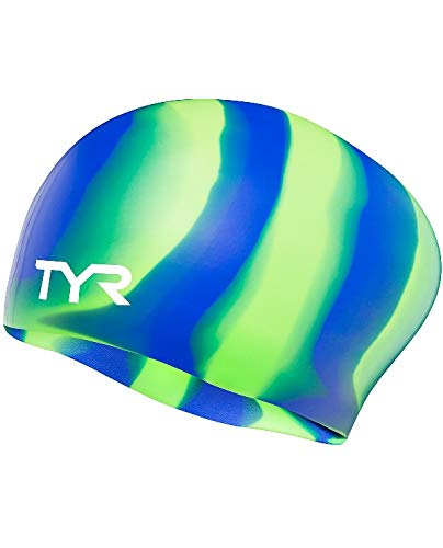 3f71362a3e1 TYR Long Hair Silicone Swim Cap Green, One Size