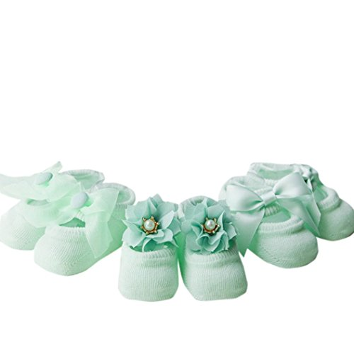 Voberry 3 pairs Lovely Baby Girls Solid Lace Patchwork Elastic Socks Antiskid Toddler Socks (0~1 years old, Green)
