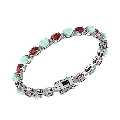 Solid Sterling Silver 6x4mm Oval Cut 8.2 CTW Red Garnet and Lab-Grown Opal Brilliant Sparkle Tennis Bracelet for Women, Box Chain with Safety ()
