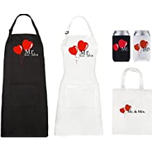 Mr and Mrs Aprons 2018 and Can Cooler Set, His Hers Wedding Gift For Couples - Bridal Shower or Engagement Gift Set, with Pocket and Gift Bag By Let the Fun Begin