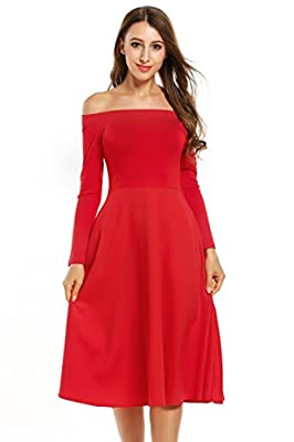 Meaneor Women's Off Shoulder A-Line Wedding Party Dress With Pocket