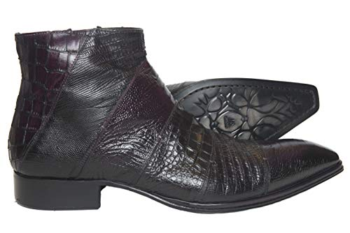 Jo Ghots 1489 Italian Mens Burgundy Lizard Print Leather Ankle Boots