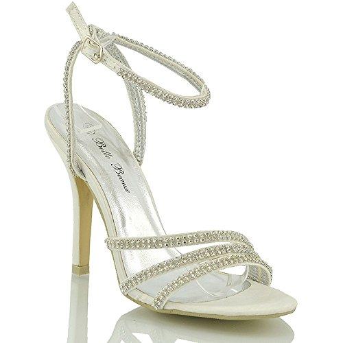 Essex Glam - High Heel Sandalen Mit Strassbesetzten Riemen Für Damen Abschlussball Party Hochzeit Braut Elfenbein Satin