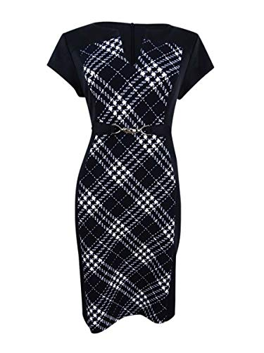 Connected Plaid Dress Sheath Women's Inset Black Petite RqXwRrE