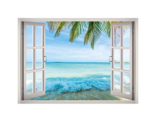 Tropical Caribbean Beach View Window 3D Wall Decal Art Removable Wallpaper Mural Sticker Vinyl Home Decor West Mountain W133 (GIANT (65''W x ()