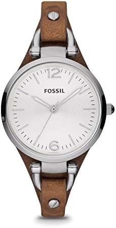 Fossil Women's Georgia Quartz Leather Casual Watch, Color: Silver, Brown, 8 (Model: ES3060)
