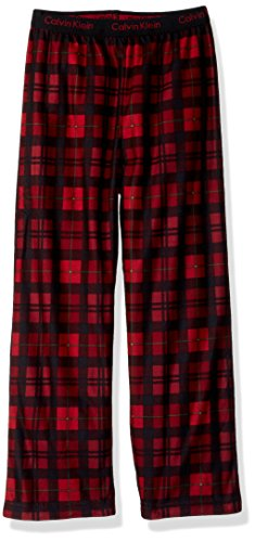 Calvin Klein Big Boys' Ck Logo Waistband Sleep Pant, Roasted Rouge Plaid, 7/8 Boys Pajama Bottoms