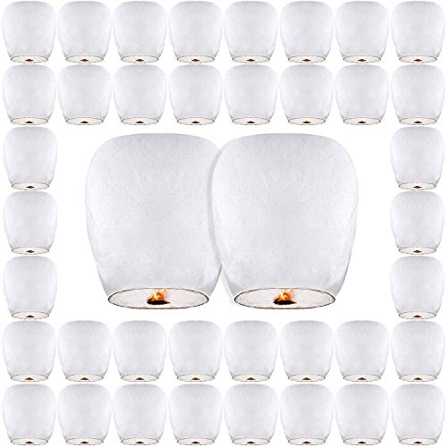(30 Pack Chinese Lanterns & Sky Lanterns ECO Friendly, 100% Biodegradable - Beautiful Lantern for White for Weddings, Birthdays, Memorials and Much More by)