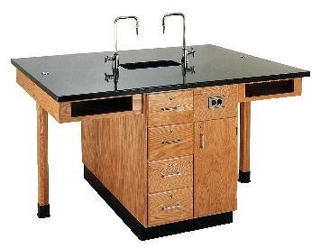 Diversified Woodcraft C2426K UV Finish Solid Oak Wood 8 Station Service Center with Epoxy Resin Top, 11' Width x 36