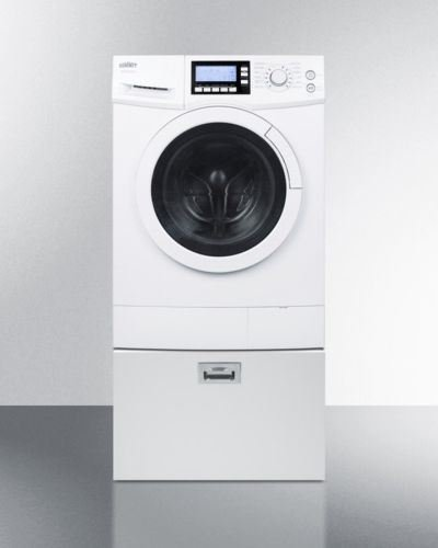 Pedestal with storage drawer to raise height of select washer/dryers for easier accessibility (Washer Summit Dryer)