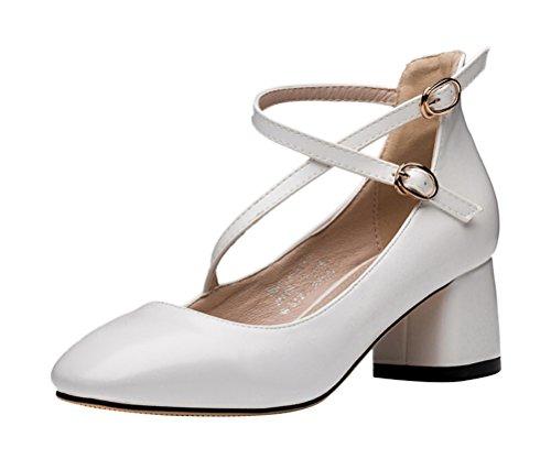 PerfectAZ Women Fashion Pointed Toe Slip On Strap Belt Buckle Chunky Mid Heel Sandals(7 B(M) US, White) - Horsebit Buckle Belt