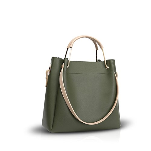 NICOLE&DORIS New Women Crossbody Handbag Shoulder Bag Tote Big Bag PU Leather Brown Green