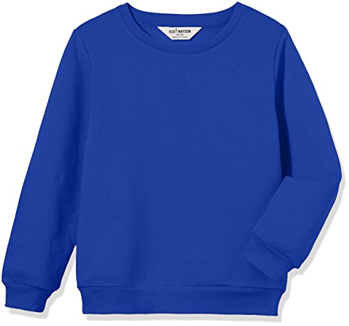 - Kid Nation Kids' Slouchy Solid Brushed Fleece Sweatshirt for Boys Girls S Blue 01