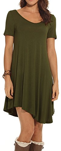 CakCton Womens Casual Summer Dresses Cotton V-Neck Swing Tunic Flowy Dress T-Shirt Dresses