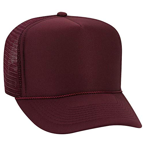 Crown Trucker Hat - OTTO Polyester Foam Front 5 Panel High Crown Mesh Back Trucker Hat - Maroon