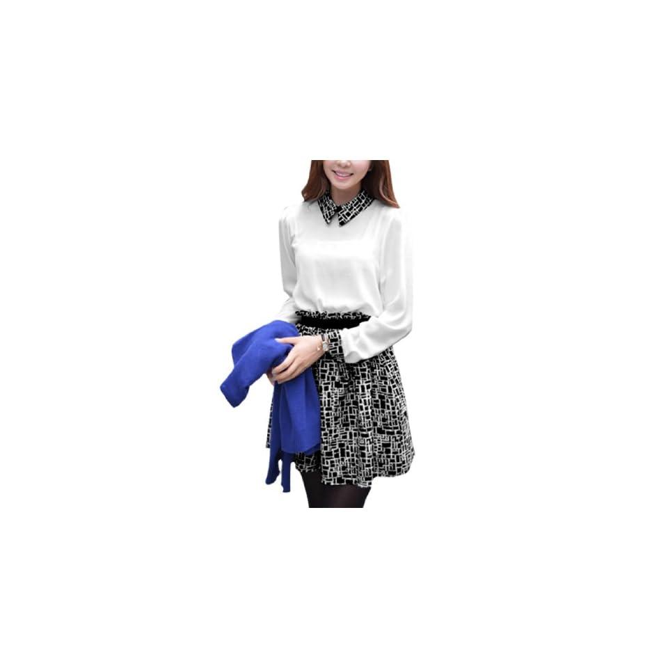 Ladies Long Sleeve Peter Pan Collar Novelty Prints Chiffon Dress Black White S Clothing