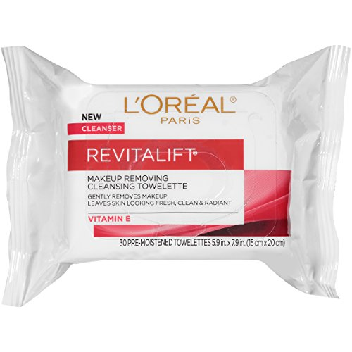 L'Oreal Paris Revitalift Makeup Removing Wipes with Vitamin E, Face Cleansing Towelettes, 30 Count ()