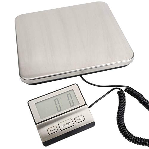 200KG 440lb Industrial Digital Postal Scale, MOCCO Heavy Duty Stainless Steel Large Platform with Weighing Indicator Powered by Batteries or AC Adapter for UPS USPS Floor Bench Office Weight ()