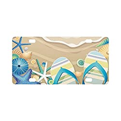 Summer Starfish Flip Flop on Beach Durable License Plate Frame Metal Personalized Car Tag 12 X 6 inches (4 Holes)