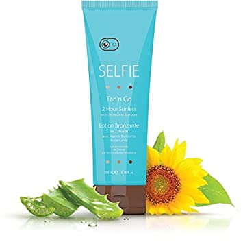 Selfie Tan n Go 2 Hour Sunless Lotion With Immediate Bronzers Rich Exotic, Smooth, Natural Sun-Kissed Golden Tan For Body and Face All Skin Types, Medium Dark, 6.78 oz