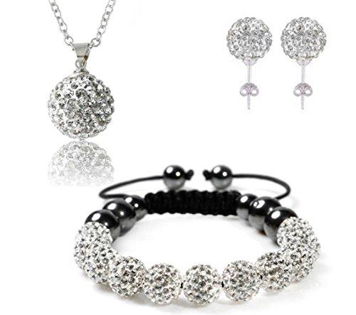 Bharatanatyam Costumes Blue - AdamEva Factory - Crystal Shamballa Disco Balls Sets Jewelry Set [Necklaces Pendants / Bracelet / Earring Studs] (White)
