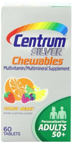 Центр Серебряный Мультивитамин / Мультиминерал Дополнение жевательные таблетки для взрослых 50+, цитрусовые Берри, 60-Count бутылки (комплект из 2)