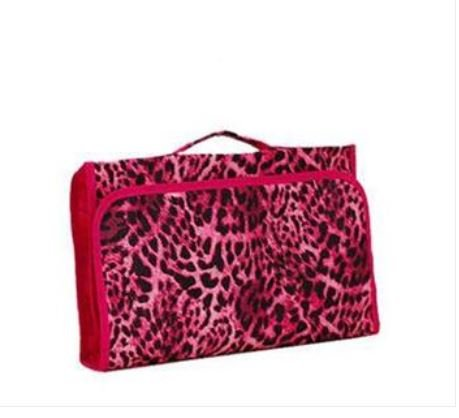 Pink Leopard Tri-fold Hanging Jewelry and Cosmetic Organizer Bag with 28 Pockets