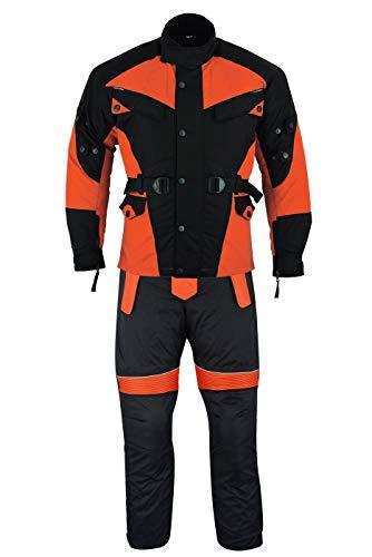German Wear 2-teiler Motorradkombi Cordura Textilien Motorradjacke + Motorradhose, 48/S, Orange