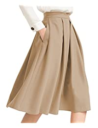 Women's Swing Skirts High Waist Flared Skirt Pleated Skirt with Pocket Casual Skirt