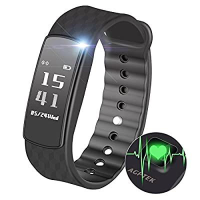 AGPTEK Fitness Tracker, Heart Rate Sleep Monitor Pedometer Calorie Counter Notifications Bluetooth 4.0 Touch Screen Smartwatch for IOS Android Smartphones, Black