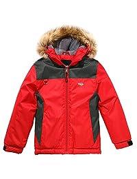 Wantdo Boy's Waterproof Ski Jacket Winter Coat Hooded Rainwear with Stripe