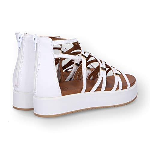 7326white Blanc Sandales Femme Inuovo Cuir H6nFwAq