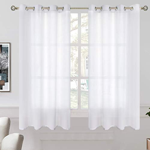 BGment Linen Look Semi Sheer Curtains for Bedroom, Grommet Light Filtering Casual Textured Privacy Curtains for Living Room, 2 Panels