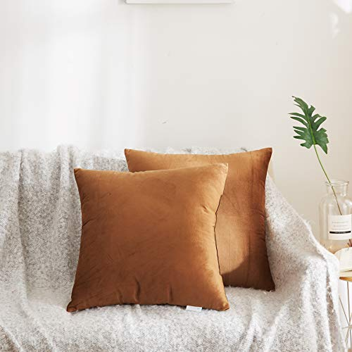 Acanva Solid Velvet Soft Decorative Throw Pillow 18 x 18 Camel