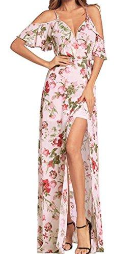 Cromoncent Pink Maxi Ruffled Neck Womens V Shoulder Printed Dress Cold Slit rqxrRvw1