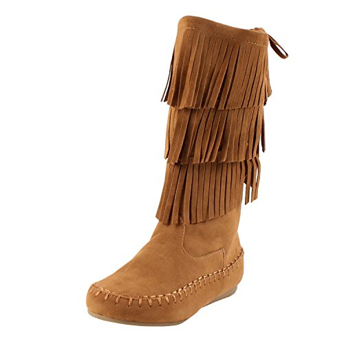 Link Candice-16Ka Girls Mid Calf 3 Layer Fringe Boots,Tan,4